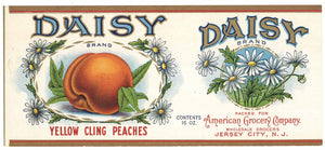 Daisy Brand Vintage Jersey City, New Jersey Peach Can Label
