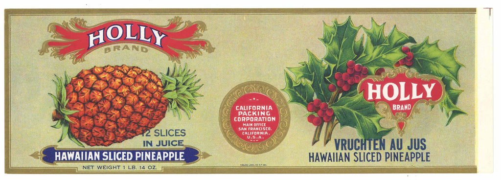 Holly Brand Vintage Hawaiian Pineapple Can Label