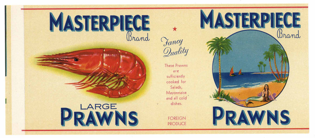 Masterpiece Brand Vintage Prawns Can Label