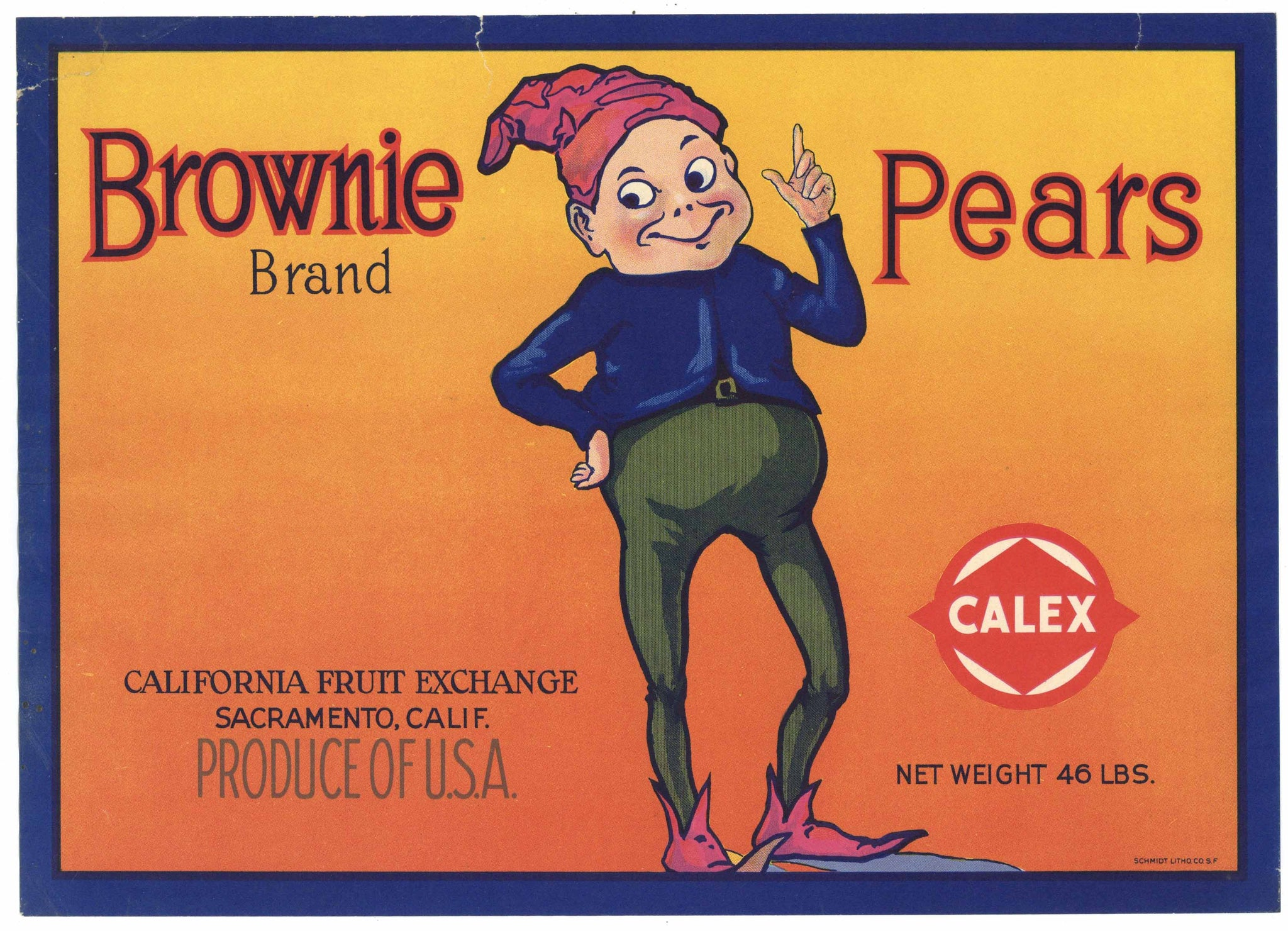 Brownie Brand Vintage Sacramento California Pear Crate Label