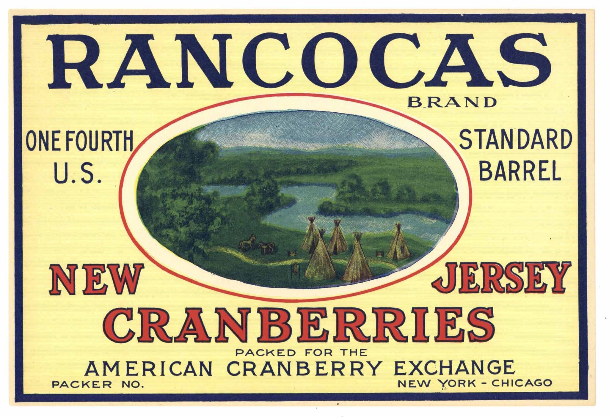 Rancocas Brand Vintage New Jersey Cranberry Crate Label, 1/4