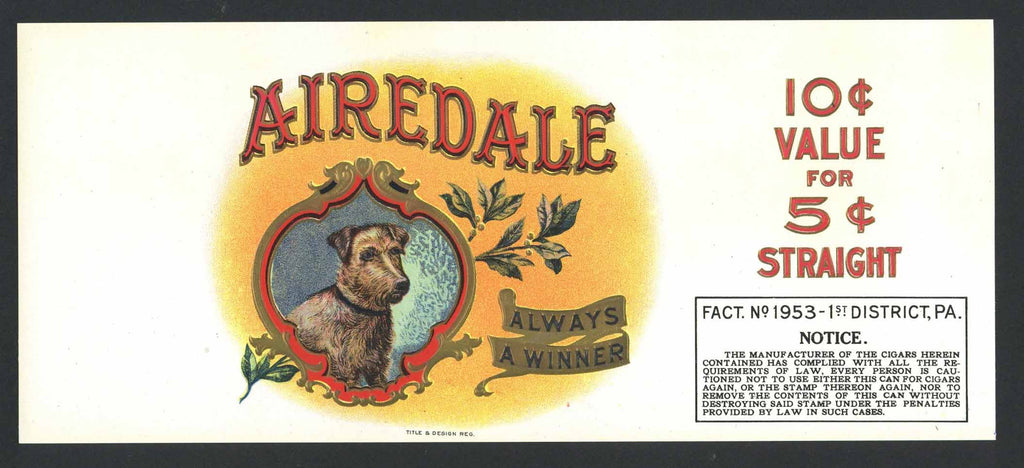 Airedale Brand  Cigar Can Label