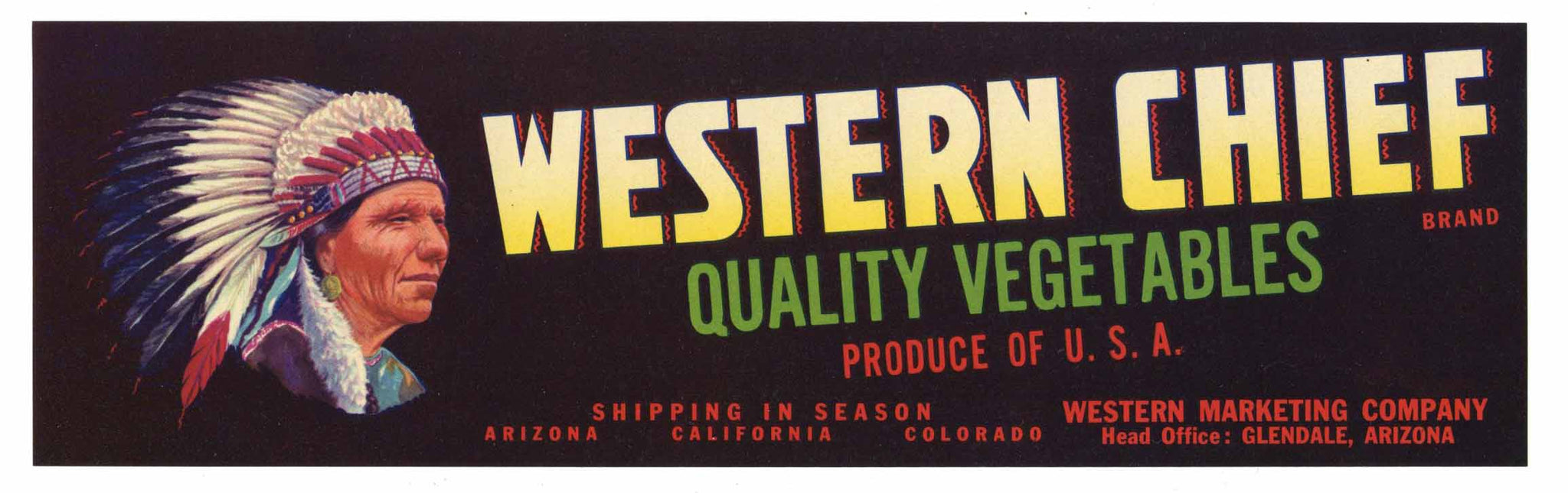 Western Chief Brand Vintage Arizona Vegetable Crate Label