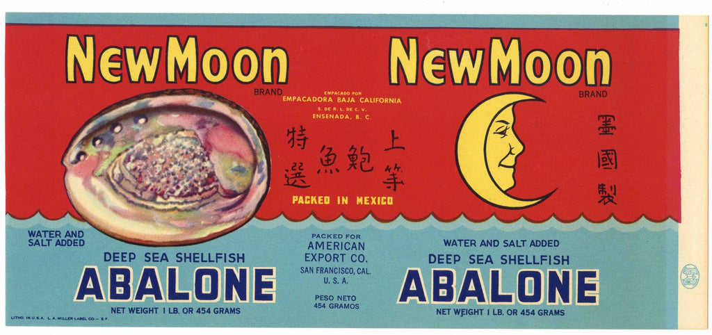 New Moon Brand Vintage Abalone Can Label