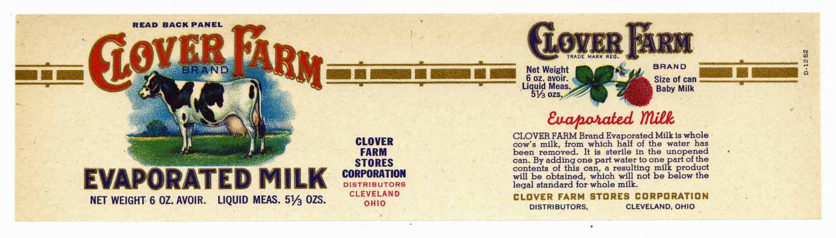 Clover Farm Brand Vintage Ohio Milk Can Label, S