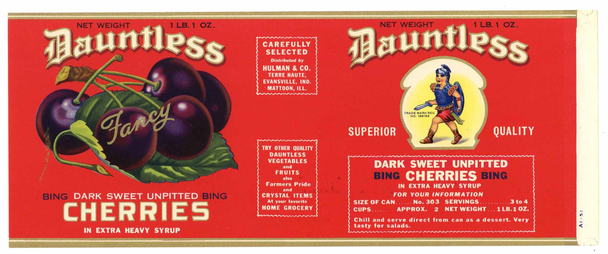 Dauntless Brand Vintage Cherry Can Label