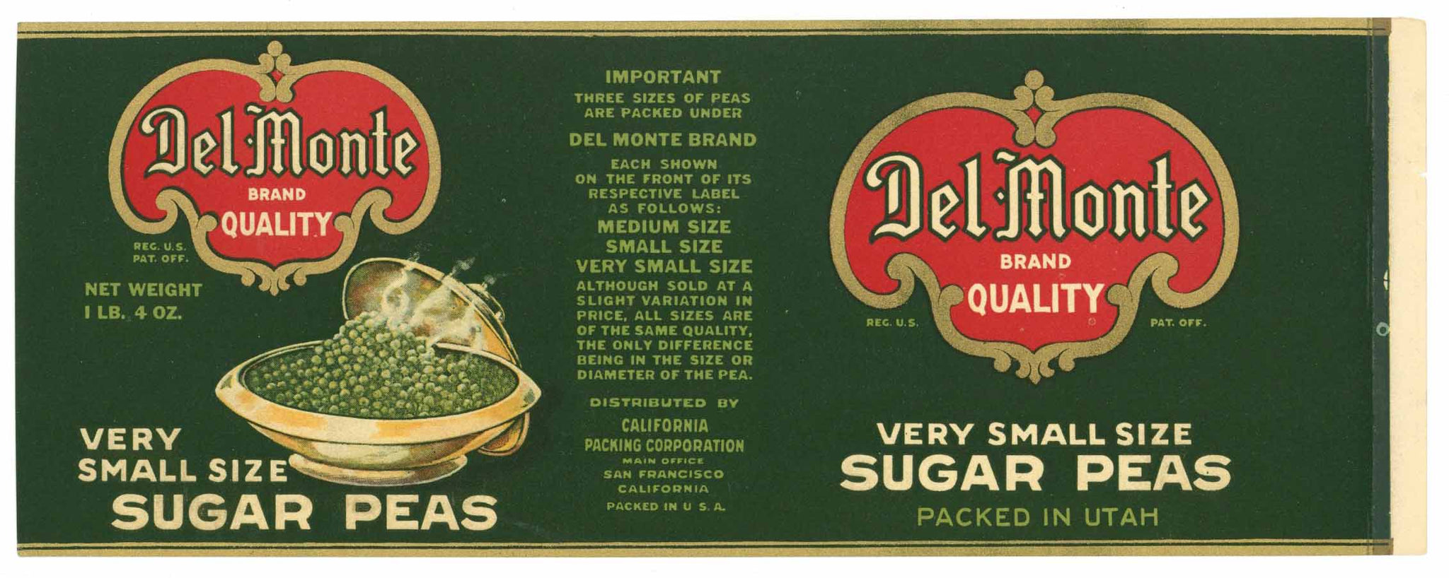 Del Monte  Brand Vintage Sugar Peas Can Label, server
