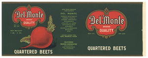 Del Monte  Brand Vintage Quartered Beets Can Label