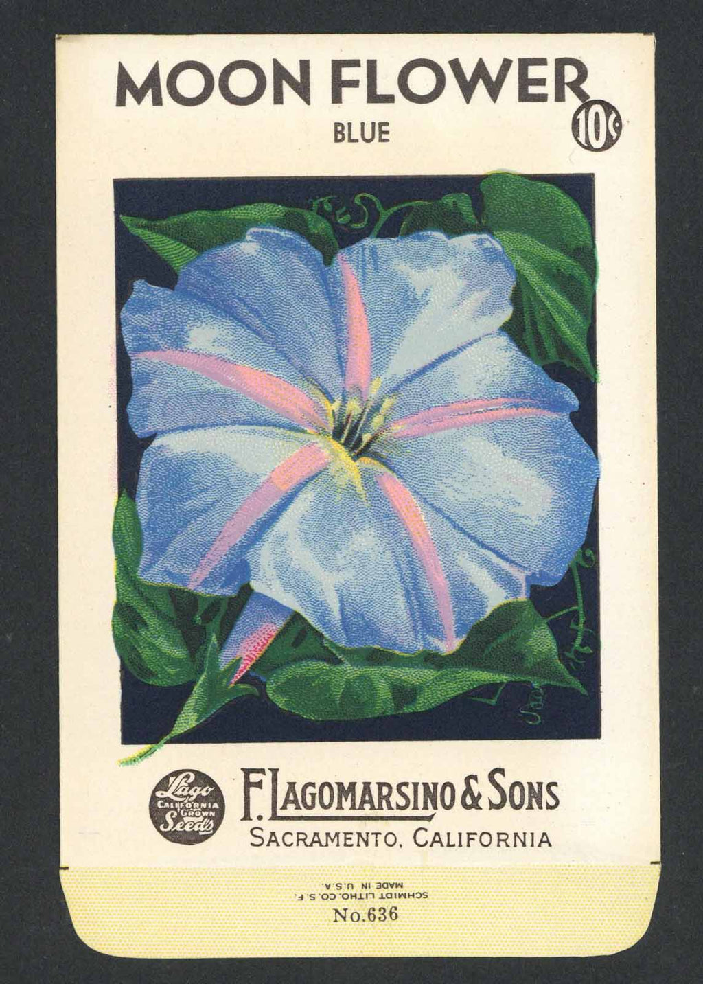 Moon Flower Vintage Lagomarsino Seed Packet, blue