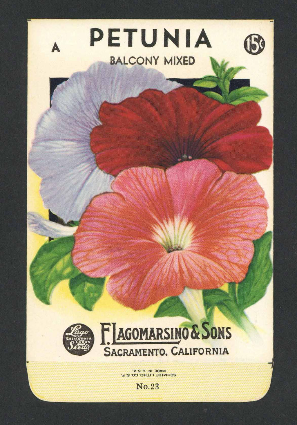 Petunia Vintage Lagomarsino Seed Packet, Balcony Mixed