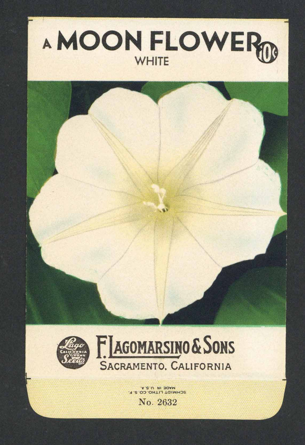 Moon Flower Vintage Lagomarsino Seed Packet, White
