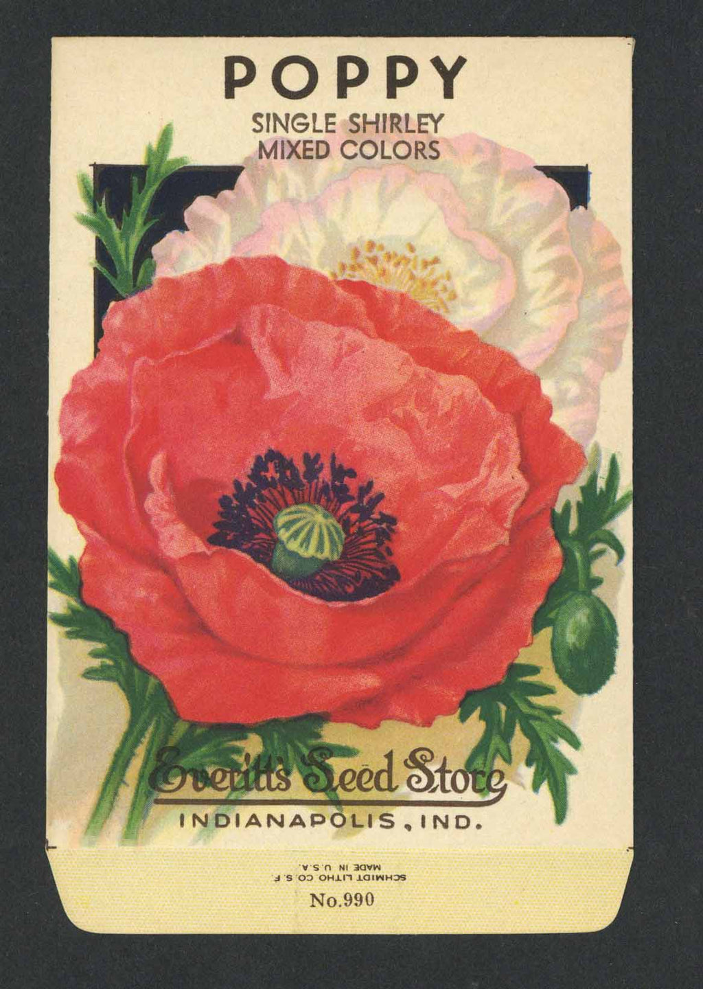 Poppy Vintage Everitt's Seed Packet, Shirley