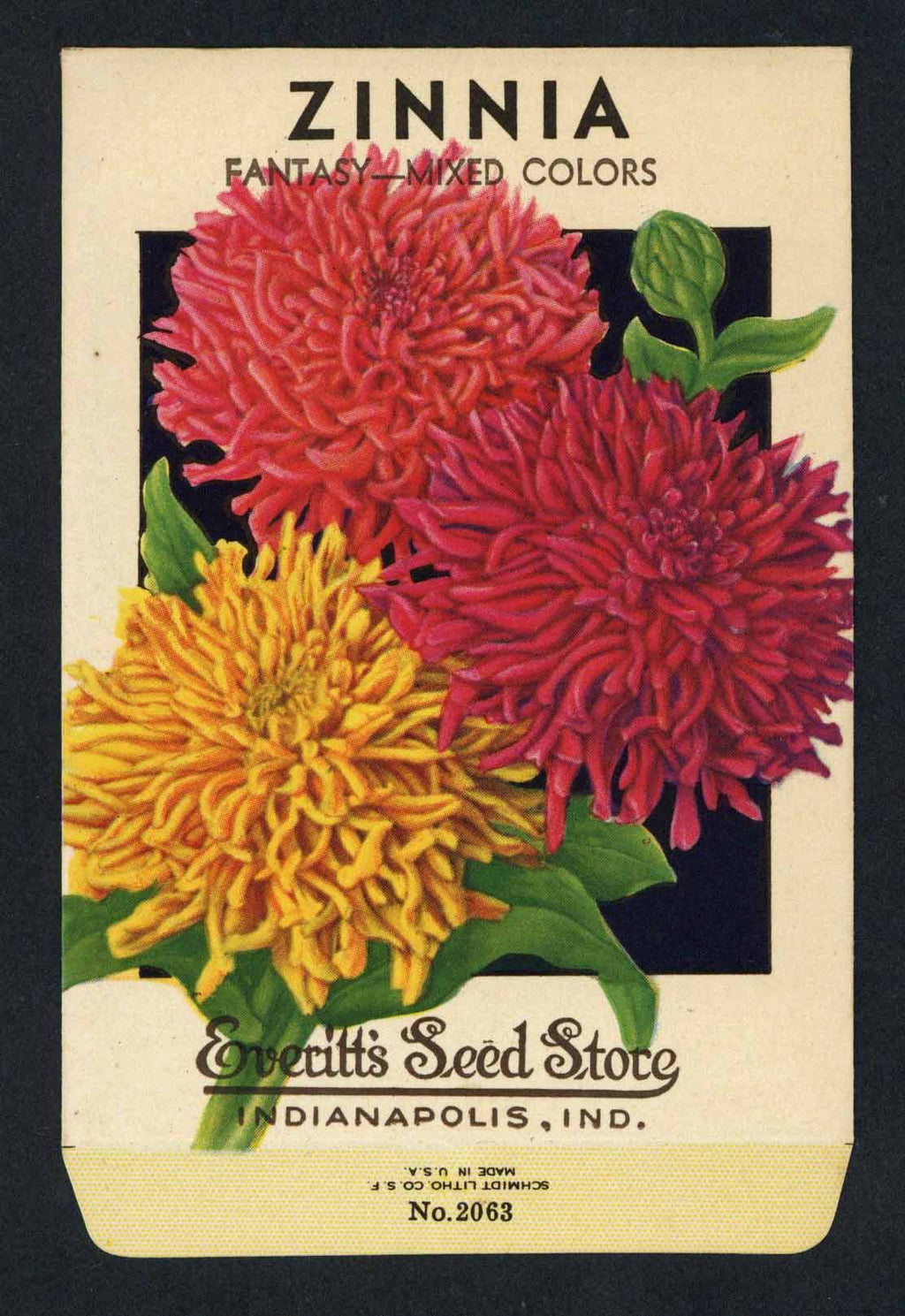Zinnia Vintage Everitt's Seed Packet, Mixed