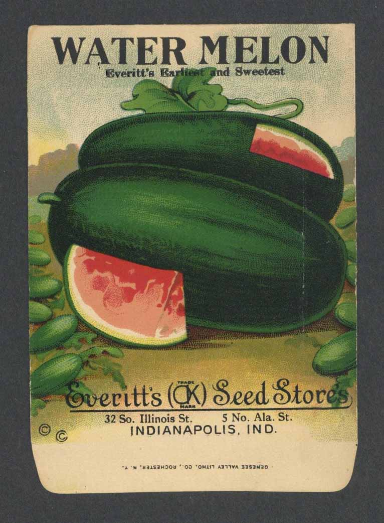 Watermelon Antique Everitt's Seed Packet, Earliest and Sweetest