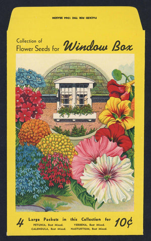 Window Box Flowers Antique Genesee Valley Litho. Seed Packet