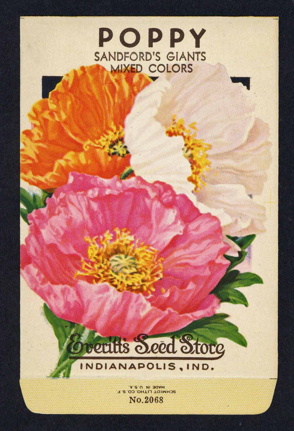 Poppy Vintage Everitt's Seed Packet, Sandford's