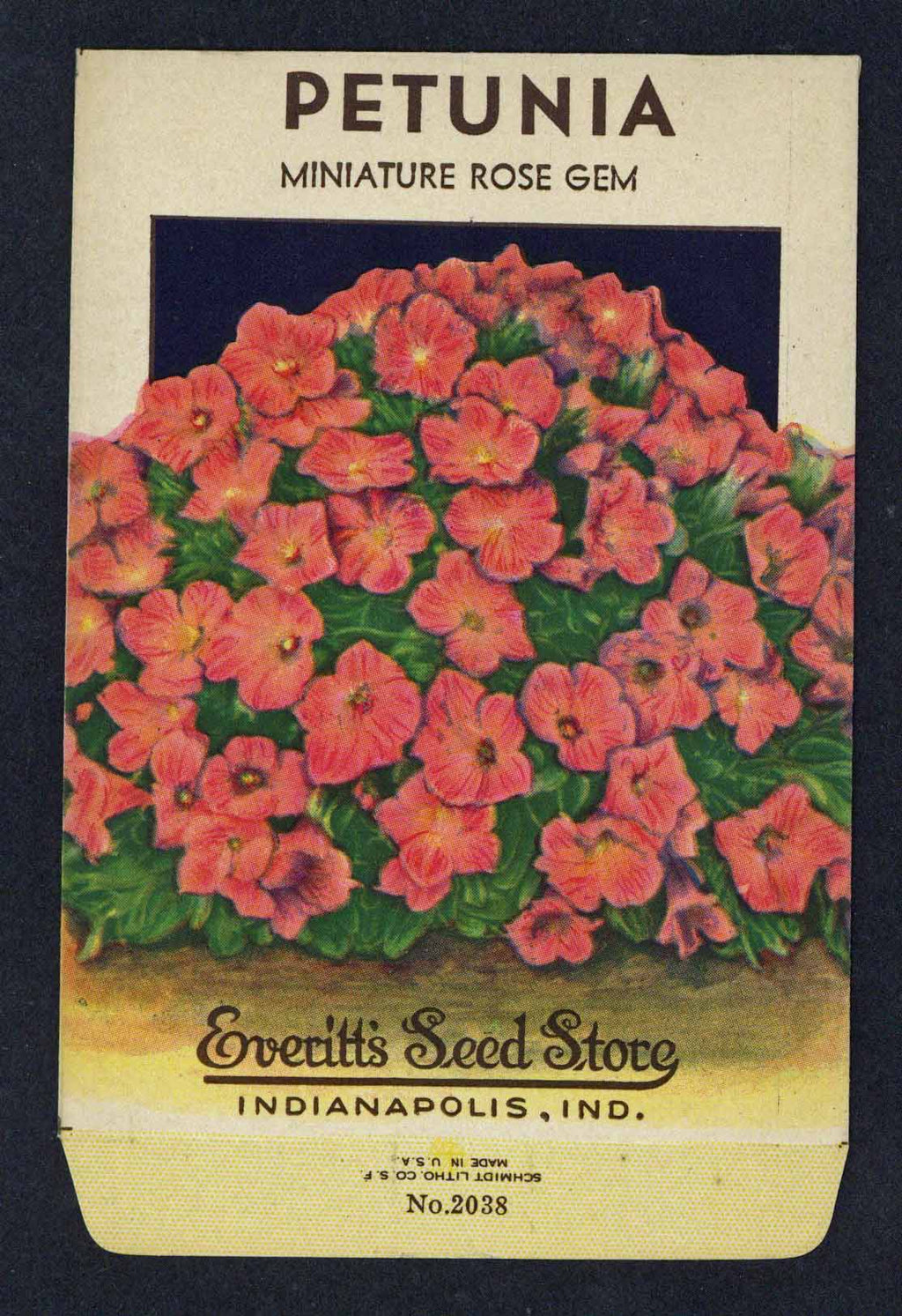 Petunia Vintage Everitt's Seed Packet, Rose Gem