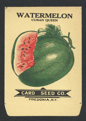 Watermelon Antique Card Seed Co. Seed Packet, Cuban Queen