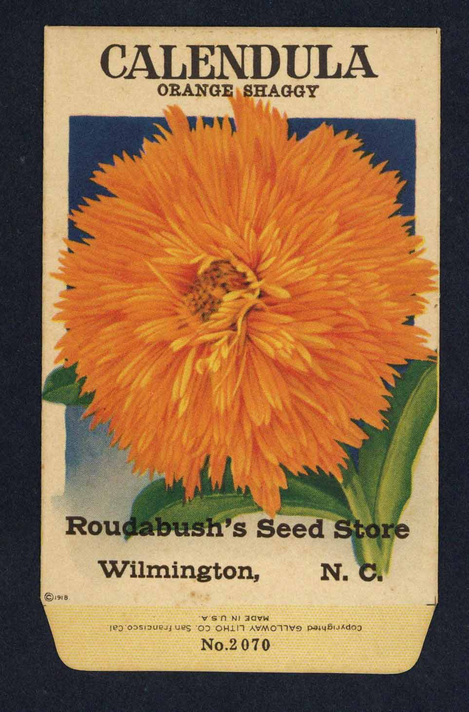 Calendula Antique Roudabush's Seed Store Seed Packet, Shaggy