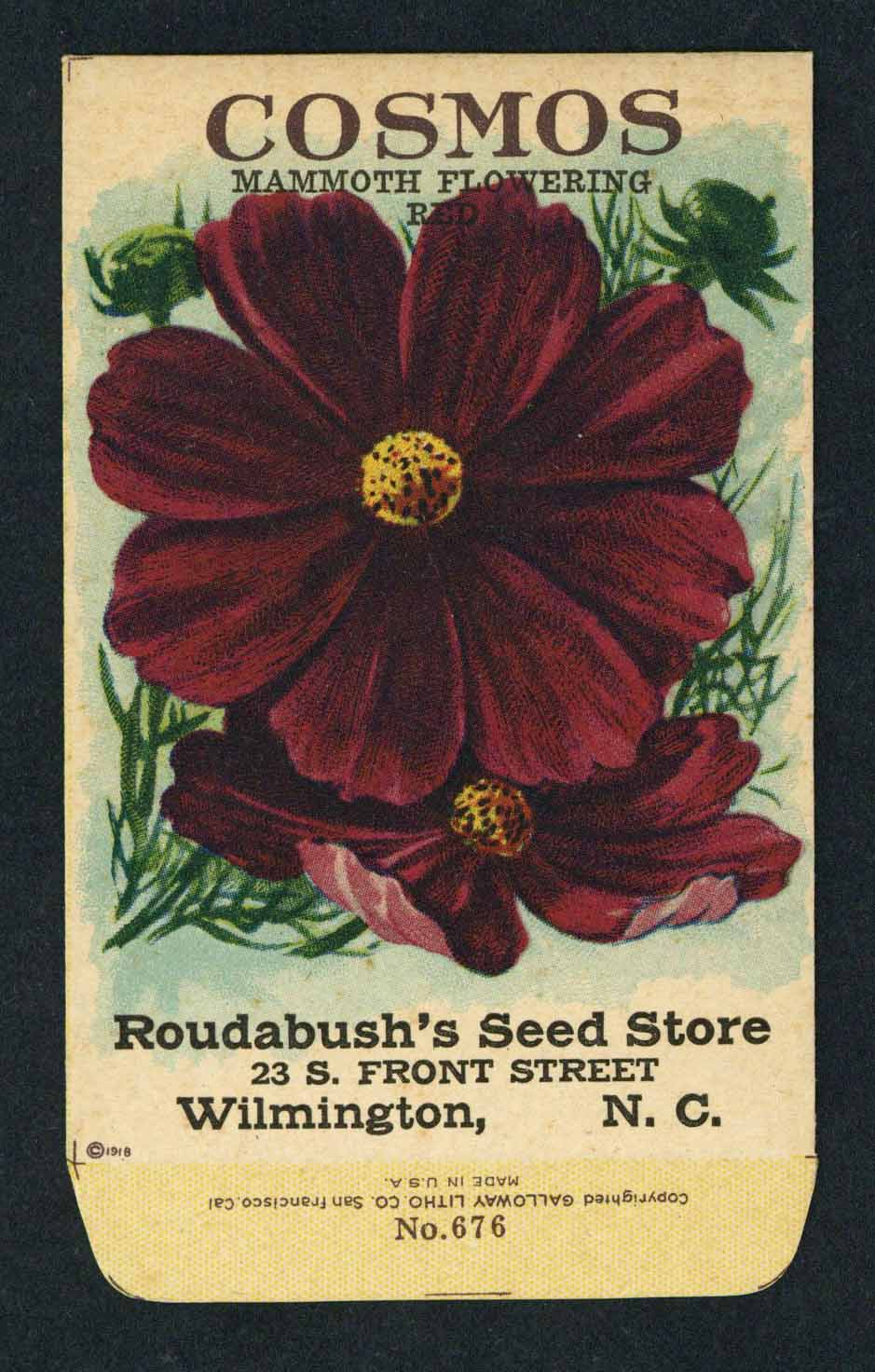 Cosmos Antique Roudabush's Seed Store Seed Packet, Red
