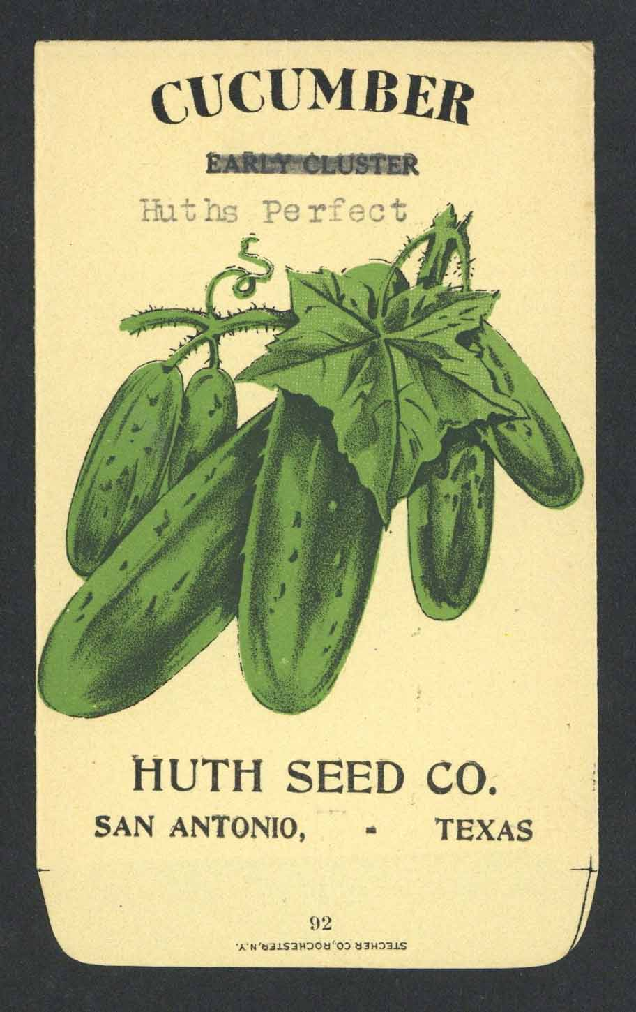 Cucumber Antique Huth Seed Co. Packet, Perfect