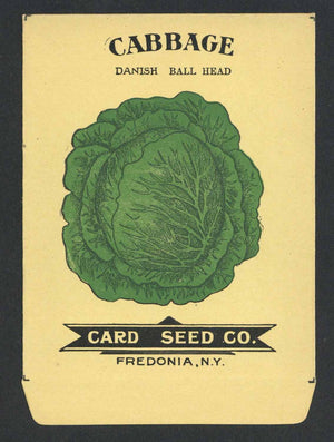 Cabbage Antique Card Seed Co. Seed Packet, Danish Ball