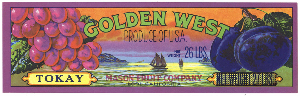 Golden West Brand Vintage Lodi Tokay Grape Crate Label
