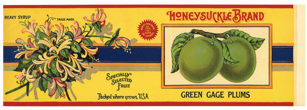 Honeysuckle Brand Vintage Green Cage Plums Can Label