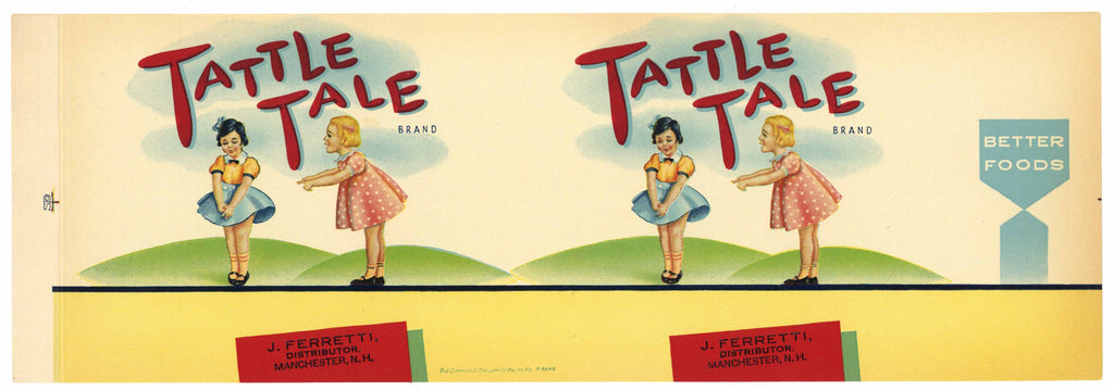 Tattle Tale Brand Vintage Manchester New Hampshire Can Label