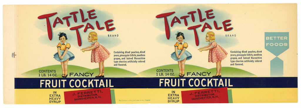 Tattle Tale Brand Vintage Manchester Fruit Cocktail Can Label
