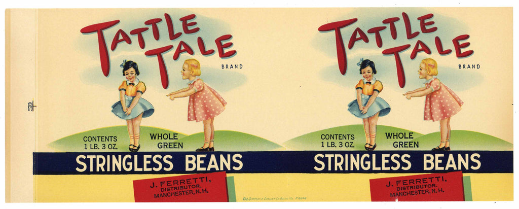 Tattle Tale Brand Vintage Manchester Stringless Beans Can Label