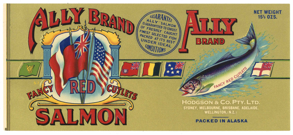 Ally Brand Vintage New Zealand, Australia Salmon Can Label