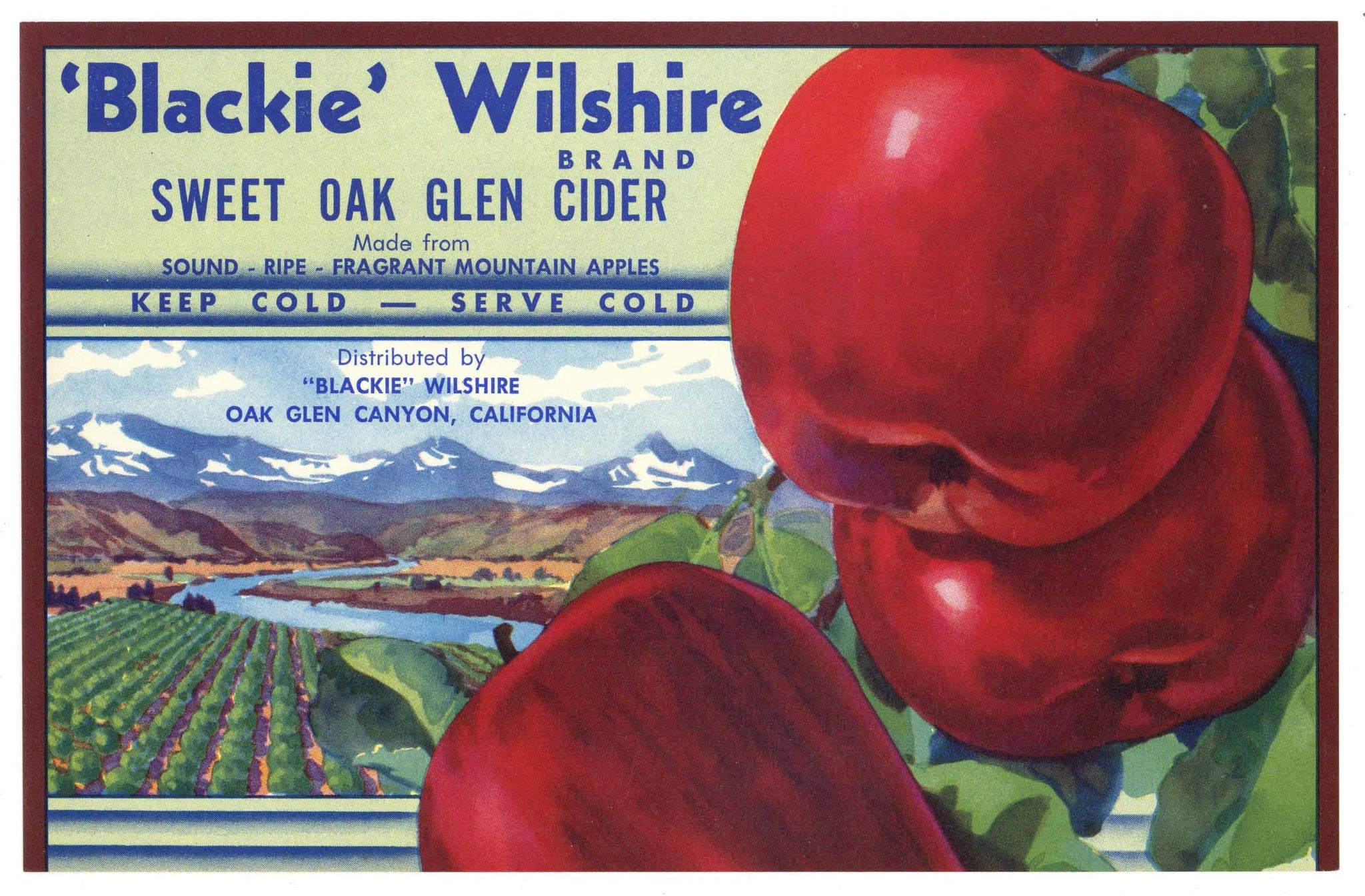 Blackie Wilshire Brand Vintage Oak Glen Apple Cider Label