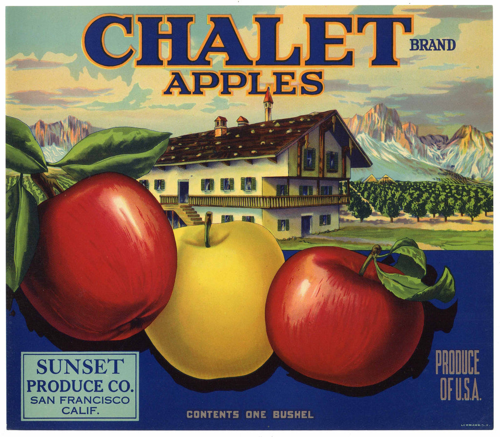 Chalet Brand Vintage Sunset Produce Apple Crate Label
