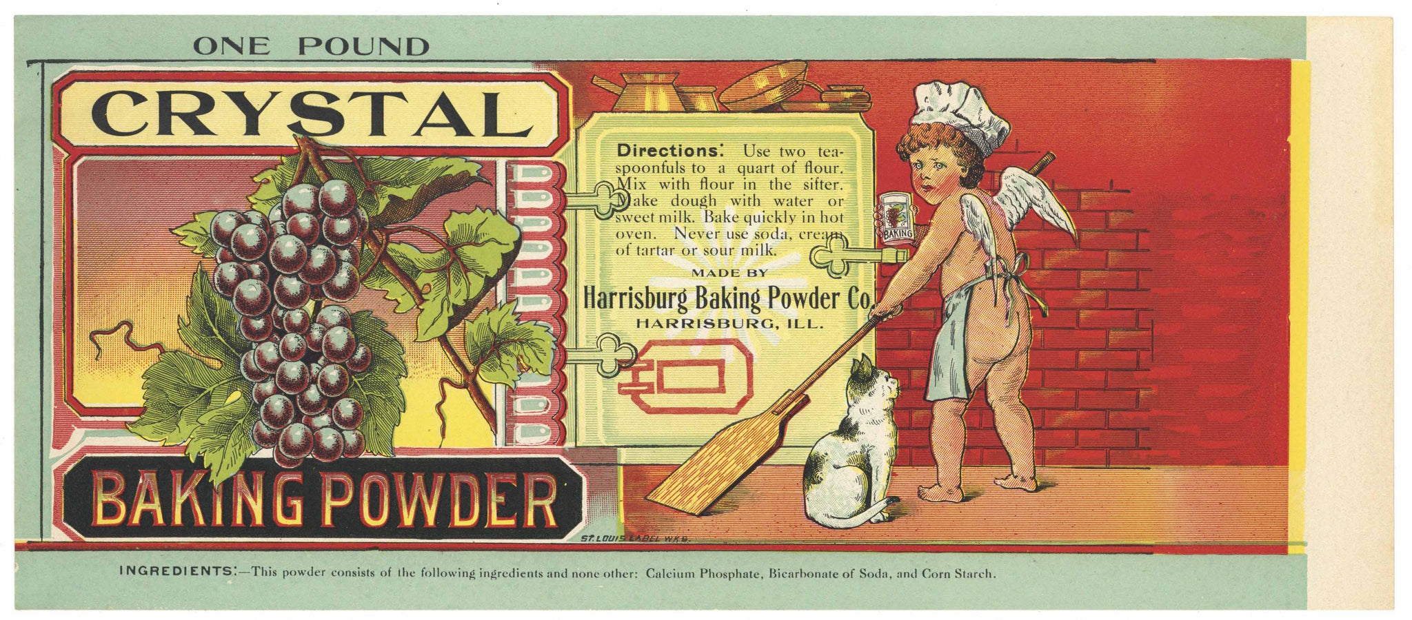 Crystal Brand Harrisburg, Illinois Baking Powder Can Label