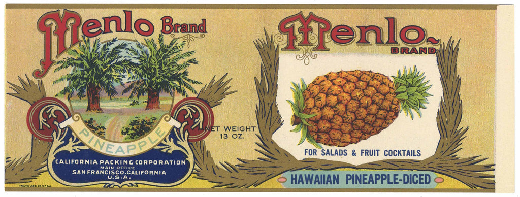 Menlo Brand Vintage Hawaiian Pineapple Can Label