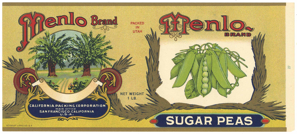 Menlo Brand Vintage Sugar Peas Can Label