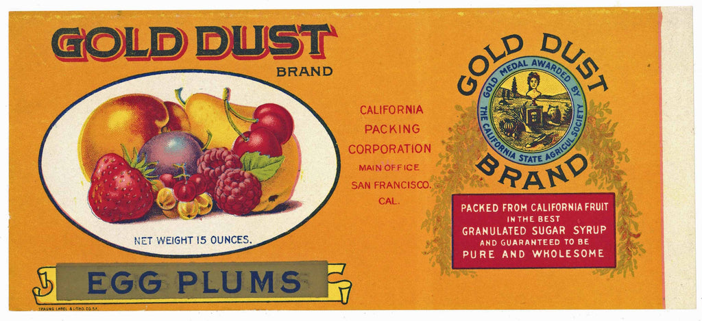 Gold Dust Brand Vintage Egg Plums Can Label
