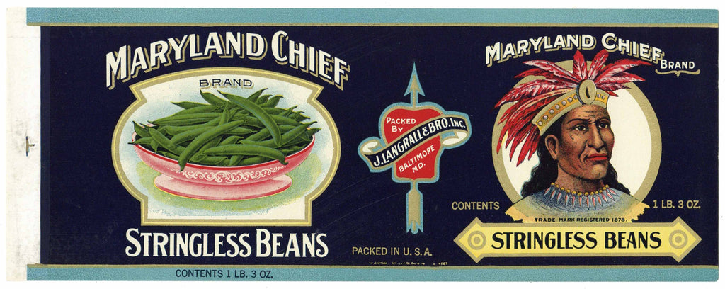 Maryland Chief Brand Vintage Baltimore Beans Can Label, gold trim