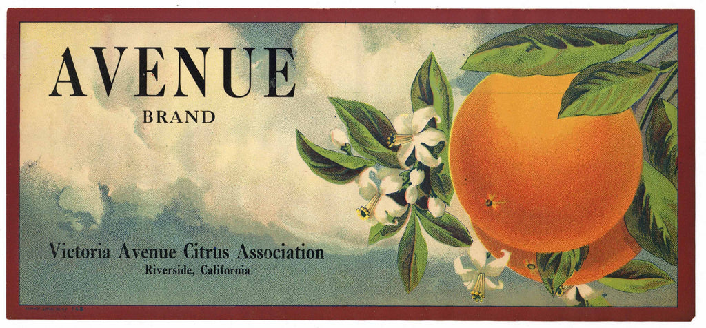 Avenue Brand Vintage Riverside Orange Crate Label, strip