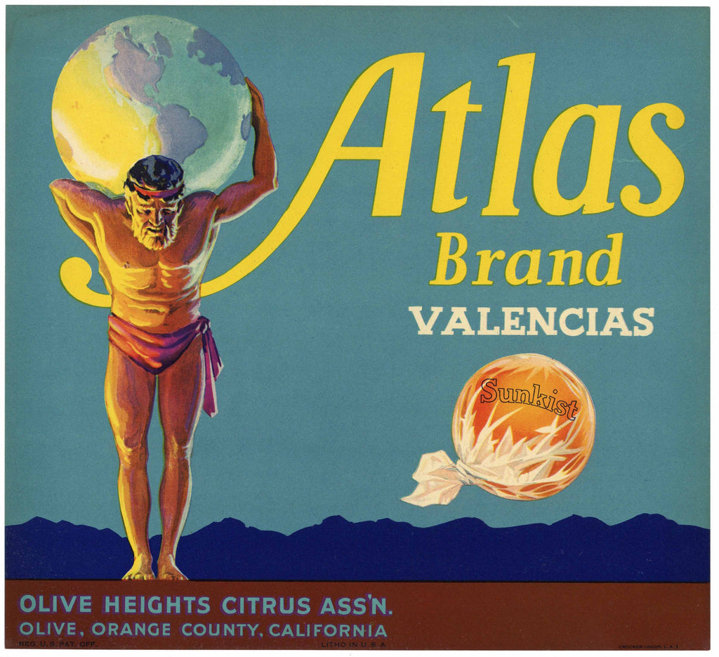 Atlas Brand Vintage Orange Crate Label, Orange County