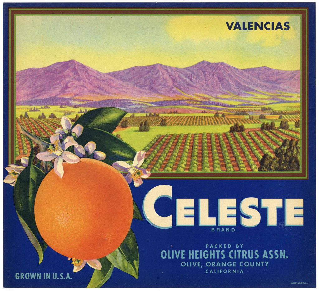 Celeste Brand Vintage Orange Crate Label, Orange County