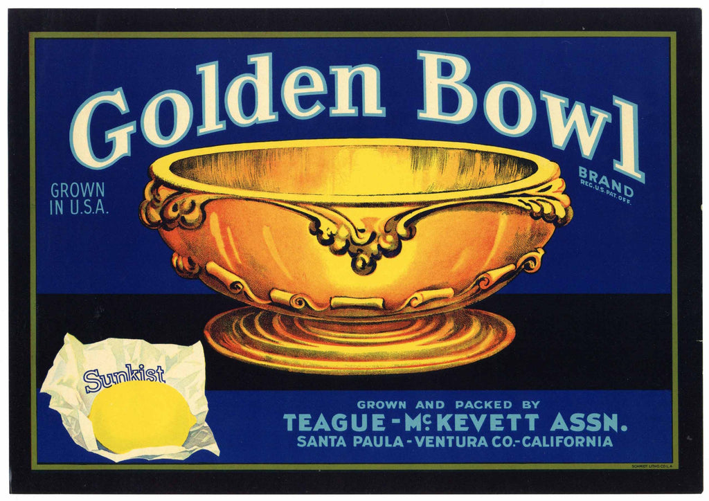 Golden Bowl Brand Vintage Santa Paula Lemon Crate Label
