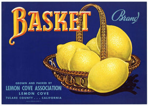 Basket Brand Vintage Tulare County Lemon Crate Label