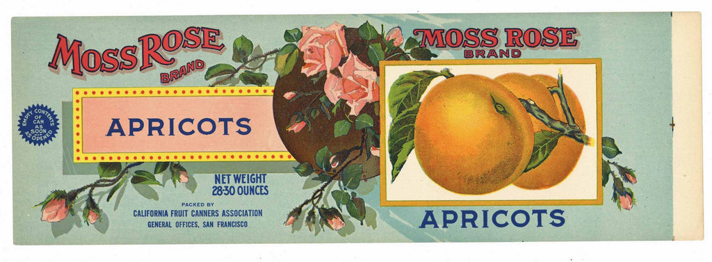 Moss Rose Brand Vintage Apricot Can Label