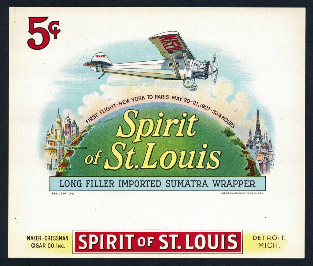 Spirit of St. Louis Inner Cigar Box Label