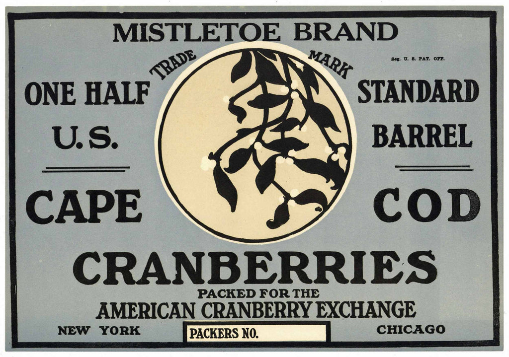 Mistletoe Brand Vintage Cape Cod Cranberry Crate Label, 1/2, blue