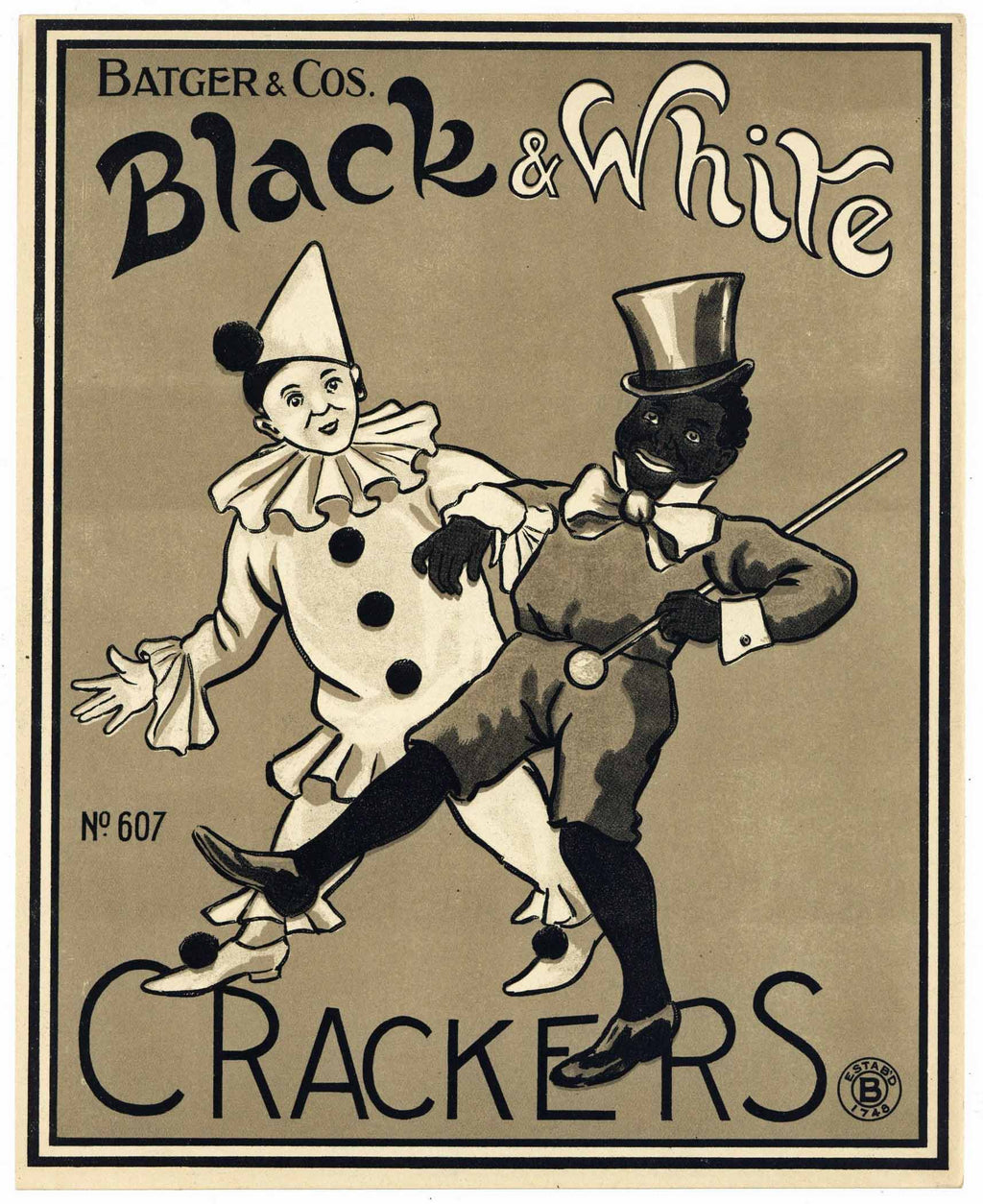 Black & White Brand Vintage English Cracker Label, Batger's