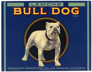 Bull Dog Brand Vintage Lemon Crate Label