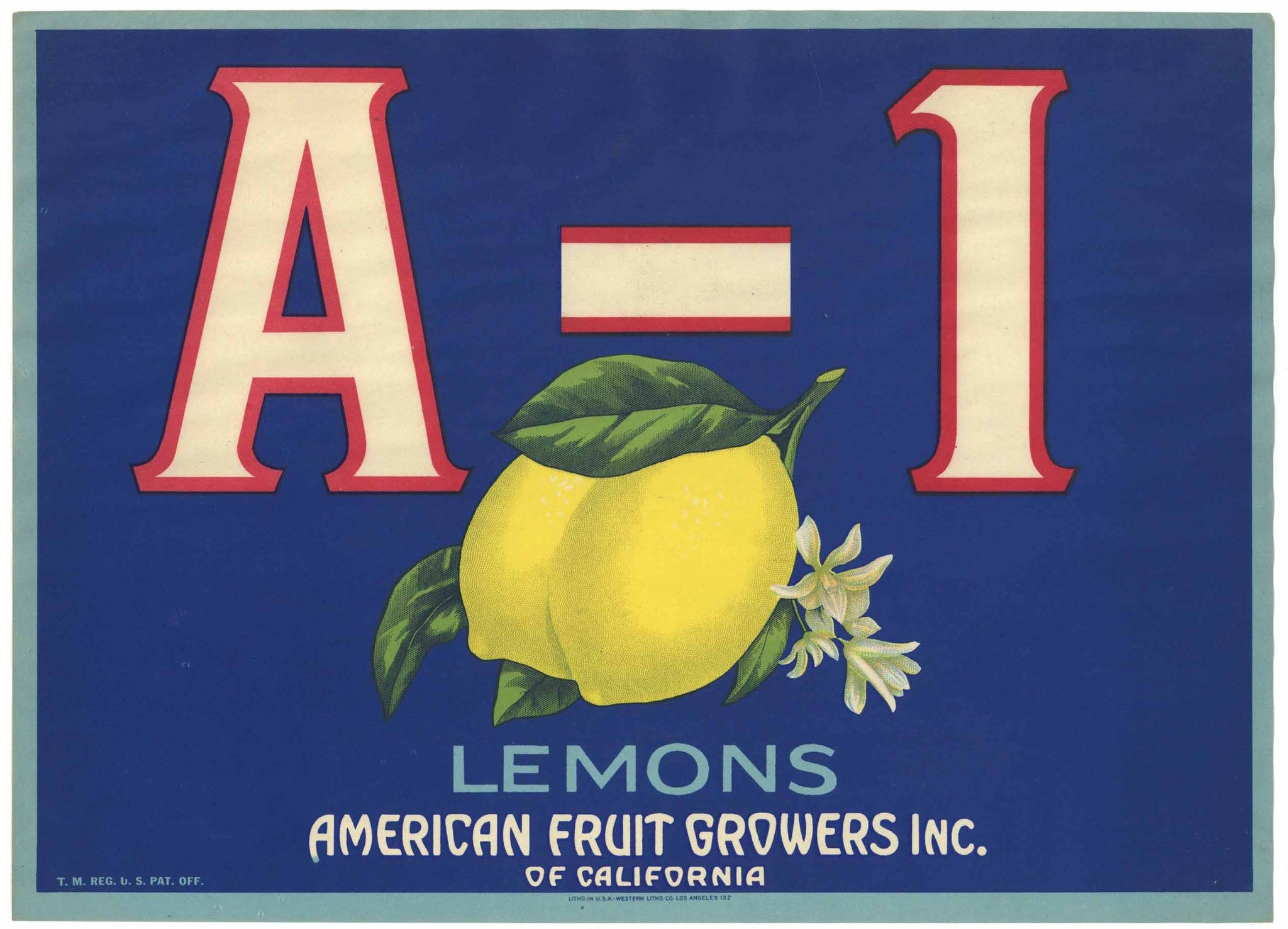 A-1 Brand Vintage American Fruit Growers Lemon Crate Label